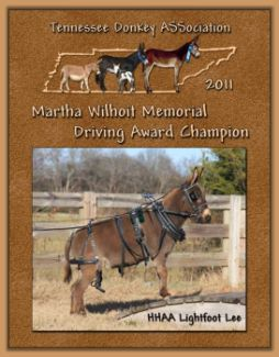2011 Tennessee Donkey ASSociation's  Martha Wilhoit Memorial Driving Award with 110 hours!